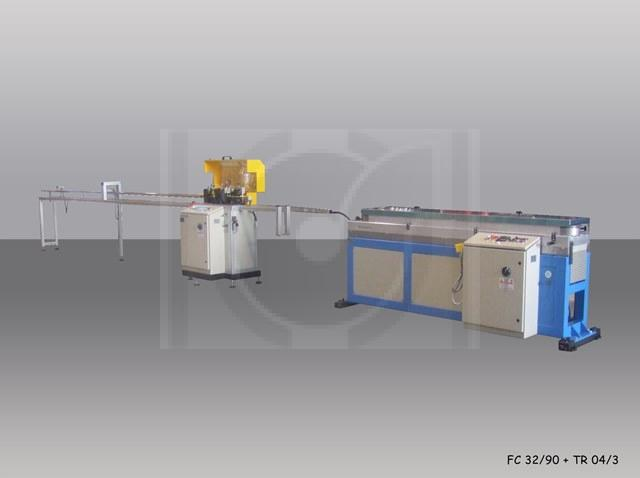 Extrusion line for corrugated tube od.max 32 with 90 moulds, rotative cutting machine and Dunping unit